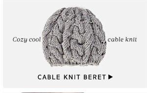 Cable Knit Beret - Cozy soft cable knit