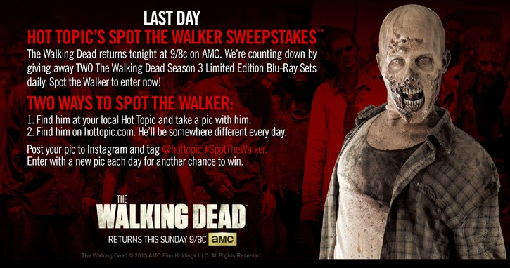 LAST DAY HT'S SPOT THE WALKER SWEEPSTAKES**