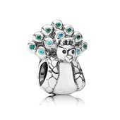 Peacock silver charm with mint and dark green c.z