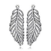 Silver pendant earring with micro pave set cubic z