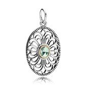 Silver pendant with 14k and green synthetic spinel