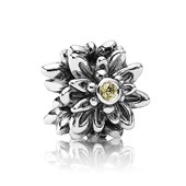 Edelweiss silver charm with yellow cubic zirconia