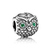 Owl silver charm with dark green cubic zirconia