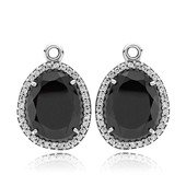 Silver pendant earring with black spinel and cubic