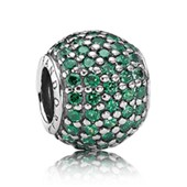Abstract pave silver charm with dark green cubic z