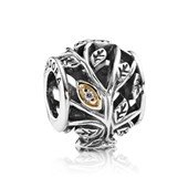 Artistic silver charm with 14k leafs and cubic zir