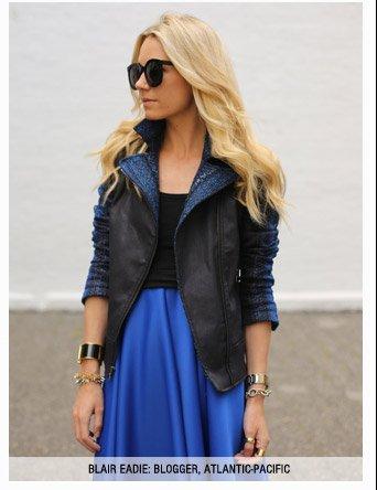 Malhia Kent: Moto Jacket in Blue Metallic Stripe