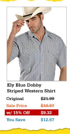 Mens Ely Blue Dobby Striped Western Shirt