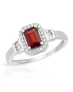 Sterling Silver Ring with 1.12 CTW Garnet, Cubic Zirconias.