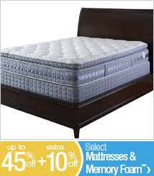 Up to 45% off + Extra 10% off Select Mattresses & Memory Foam**