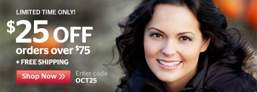 Limited Time Only! $25 Off $75
