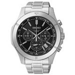 Seiko SSB105 Men's Chronograph Black Dial Stainless Steel Bracelet Quartz Watch