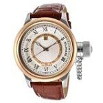 Invicta 14079 Men's Russian Diver Rose Gold Bezel Silver Dial Brown Strap Watch
