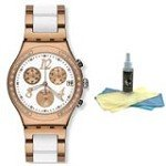 Swatch YCG406G Unisex Dreamwhite Rose White Dial Two Tone Bracelet Chronograph Watch with 30ml Ultimate Watch Cleaning Kit