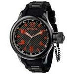 Invicta 1973 Men's Signature Russian Diver Black Ion Plated Rubber Strap Black Dial Watch