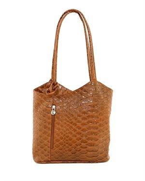 Poema Snake Embossed Genuine Leather Shoulder Bag Made In Italy
