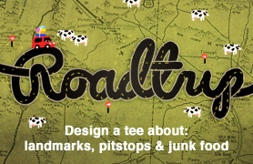 Design a tee about: landmarks, pitstops, & junkfood.