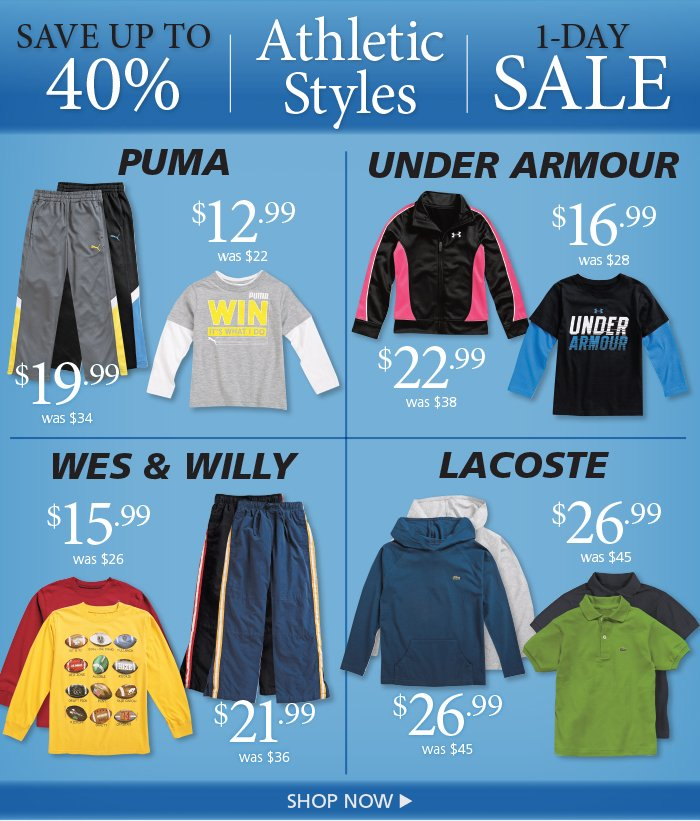 Save on Puma, Under Armour, Wess & Willy, and Lacoste Sports Styles, Today Only
