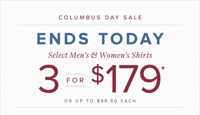 COLUMBUS DAY SALE - ENDS TODAY