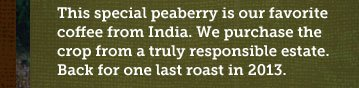 This special peaberry is our favorite coffee from India. We purchase the crop from a truly responsible estate. Back for one last roast in 2013.