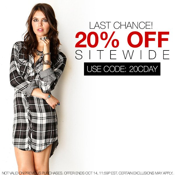 Ends tonight! Take 20% off sitewide.