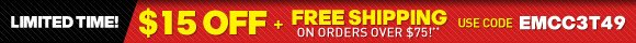 Take $15 off + Free Shipping on orders over $75!*
