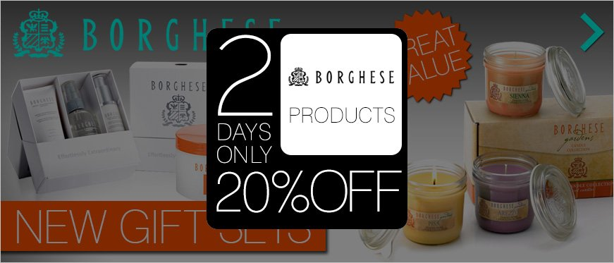 Great Value Favorite New Gift Sets from BORGHESE + 20% off Borghese 2 Days only