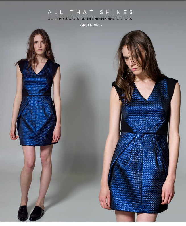 All That Shines: Quilted Lurex Jacquard in Shimmering Colors. Shop Now >