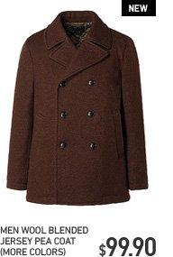 MEN WOOL BLENDED PEA COAT