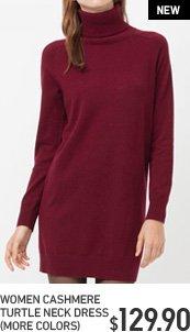WOMEN'S CASHMERE TURTLE NECK DRESS