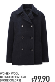 WOMEN WOOL BLENDED PEA COAT