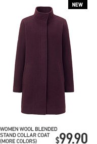 WOMEN WOOL STAND COLLAR COAT