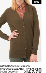 WOMEN'S CASHMERE BLEND FINE GAUGE SWEATER