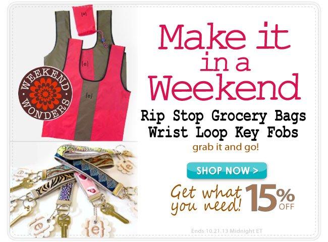 Save 15% and Make this Grocery Bag or Wristlet Key Fob