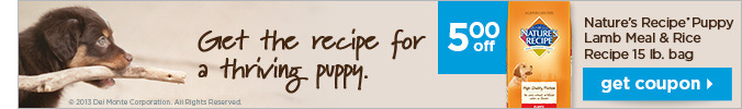 $5 off Nature's Recipe® Puppy Lamb Meal & Rice Recipe 15lb. bag