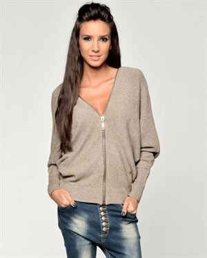 Joins Zipper Embellished Batwing Sleeves Sweater Made In Italy