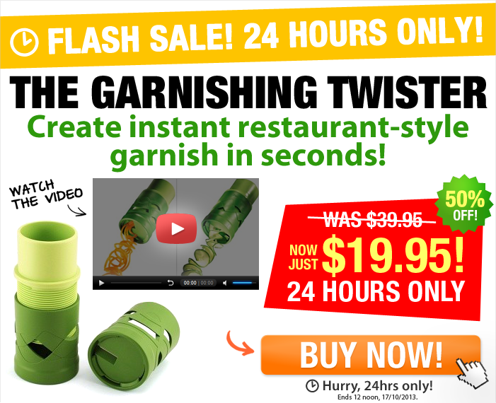 Watch the video & save 50% off the top-selling Garnishing Twister that creates restaurant style dishes in seconds!