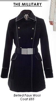 Belted Faux Wool Coat