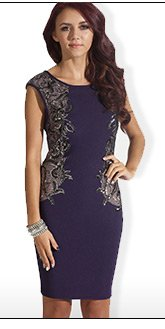 Sequin Mesh Panel Bodycon Dress