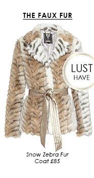 Snow Zebra Fur Coat