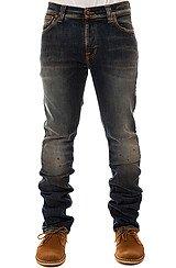 The Thin Finn Organic Rough Spirit Jeans in Dark Blue Paint Splatter