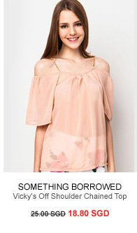 SOMETHING BORROWED Vicky's Off Shoulder Chained Top