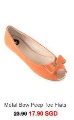 SIDEWALK Sarina Metal Bow Peep Toe Flats