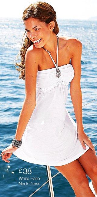 LASCANA White Halter Neck Dress