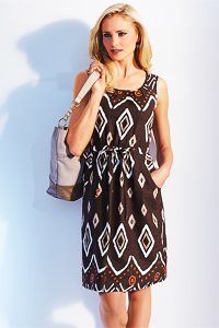 Brown Diamond Print Dress