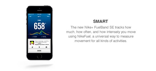 SMART | Keep track of the intensity of your workout through NikeFuel rate and see your total NikeFuel earned during a session.
