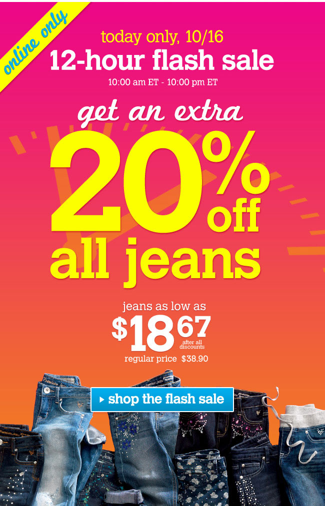 Extra 20% off all jeans