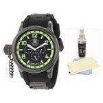 Invicta 1805 Men's Signature Russian Diver Lefty Black Rubber Strap Black Dial Watch with Ultimate Watch Care Kit