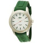 Lacoste 2010412 Men's Advantage Green Rubber Strap White Dial Stainless Steel Watch