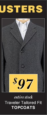 $97 USD - Traveler Tailored Fit Topcoats